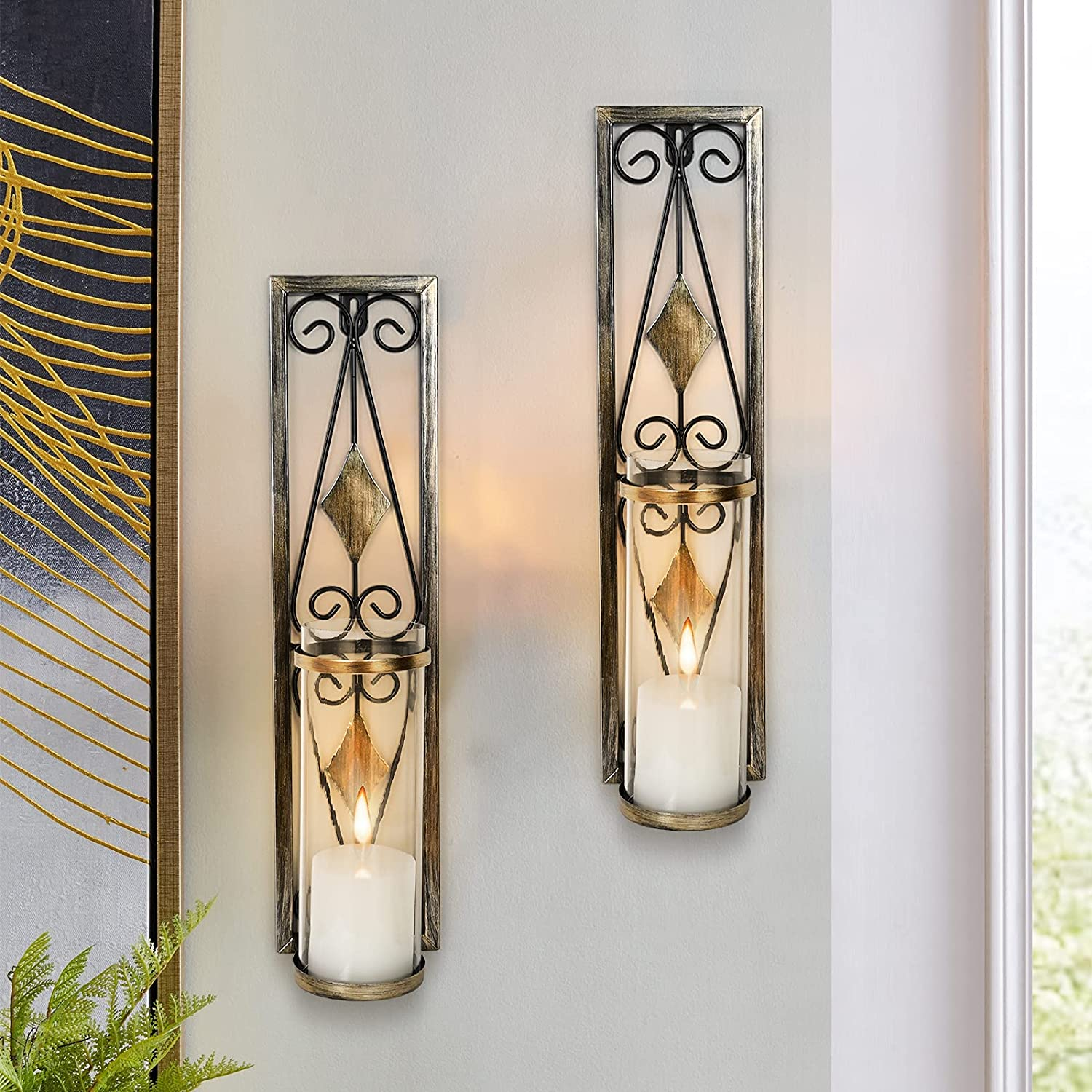 MISUMISO Wall Sconces Candle Holders Classic Metal Acrylic Wall Decorations with Unique Art Design for Living Room, Bathroom, Dining Room, Set of 2