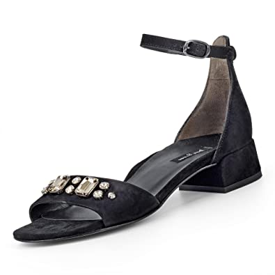 Paul Green 7123-022 Damen Sandalette aus Edlem Veloursleder mit Ziersteinen