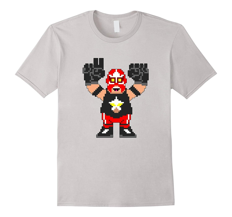 8 Bit Wrestler Big Train Wrestling Retro Gaming T-Shirt-RT