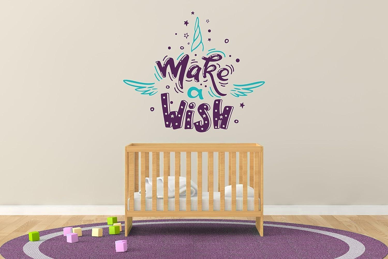 e-Graphic Design Inc Wide Make Wide A Wish - 赤ちゃん - 女の子 - 赤ちゃん部屋の装飾 - 壁用デカールステッカー ホーム 子供部屋用 (R225) Wide 22