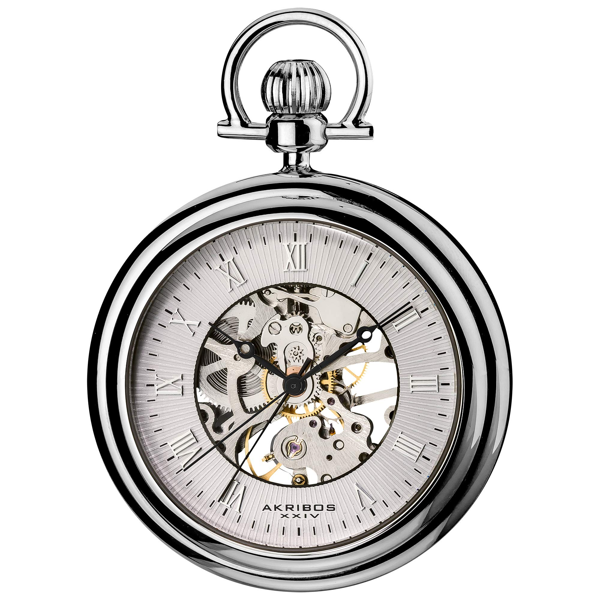 Akribos XXIV Men's Mechanical Skeleton Pocketwatch - Sunray Pattern Dial with Chain Comes with Built-In Glass Display - AK453 by Akribos XXIV