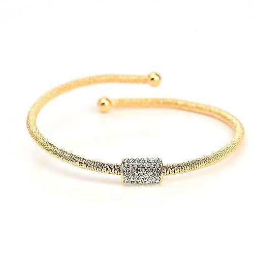 Brilliant Beautiful Silver Sparkle Gold Tone Cuff Bangle Bracelet Jewelry & Watches