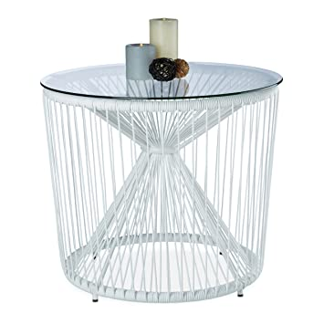 Relaxdays Table basse fil cordes ronde plateau verre appoint ...