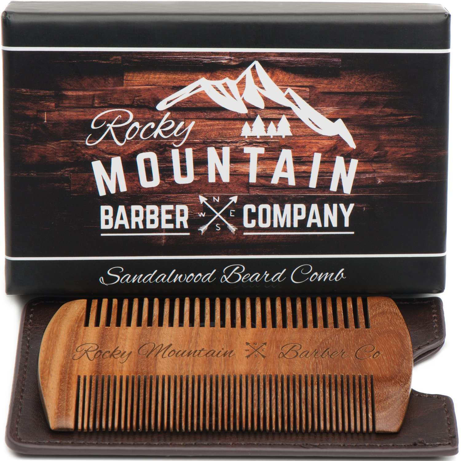 Beard Comb - Natural Organic Sandal Wood for Hair - Scented Fragrance Smell with Anti-Static & No Snag, Handmade Fine Tooth Brush Best for Beard & Moustache Packaged in Premium Giftbox Rocky Mountain Barber Company BC-50