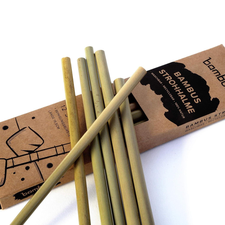 Bambuo 12er Pack Bambus Strohhalme Inkl Reinigungsburste