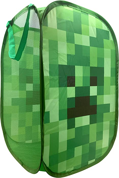 "Jay Franco Minecraft Creeper Pop Up Hamper - Mesh Laundry Basket/Bag with Durable Handles, 22"" x 14"" (Official Minecraft Product)"