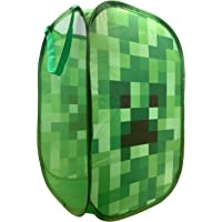 """Jay Franco Minecraft Creeper Pop Up Hamper - Mesh Laundry Basket/Bag with Durable Handles, 22"""" x 14"""" (Official Minecraft Product)"""