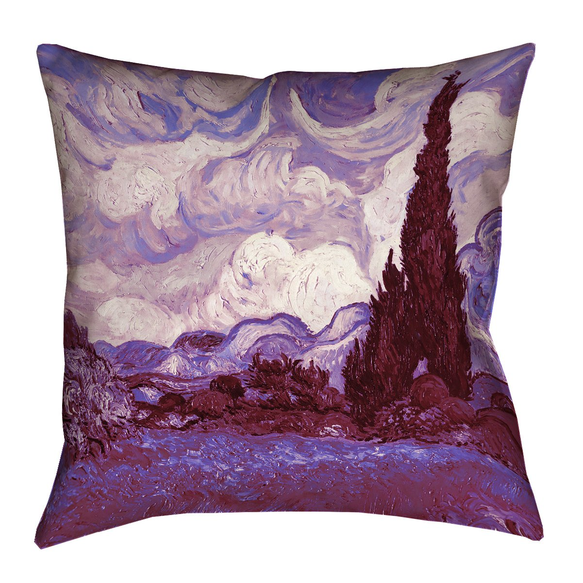 ArtVerse VAN022P1818G Mauve Wheatfield with Cypresses Pillow 18 x 18