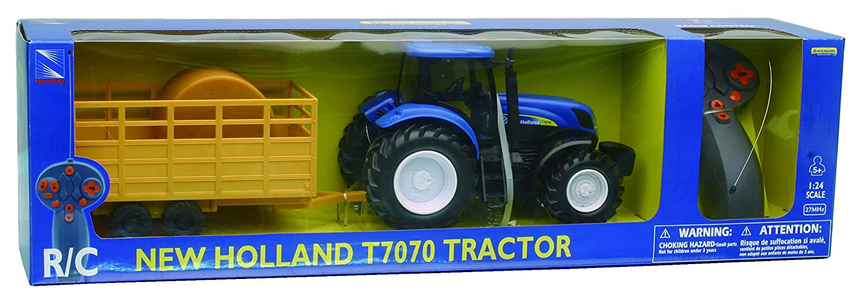 NewRay 88555 - Ferngesteuerter Modell-Traktor 'New Holland T7070' 1:24 mit Anhänger UN