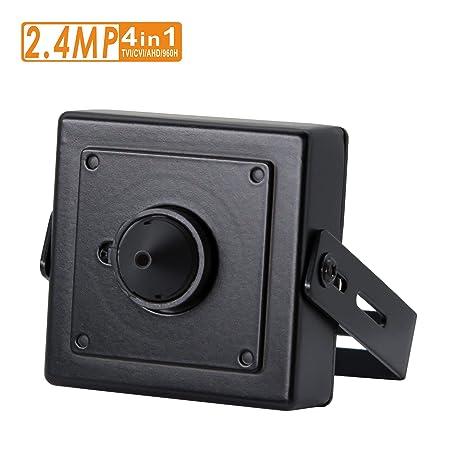 2.4MP Pinhole CCTV Camera, 3.7mm Pinhole Mini Lens, HD TVI CVI AHD 960H Output, Hidden Spy CCTV Surveillance Security System-Switchable Output