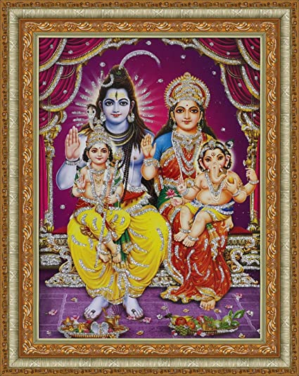 349shop Lord Shiva With Parvati Ganesh And Kartikey Painting Poster