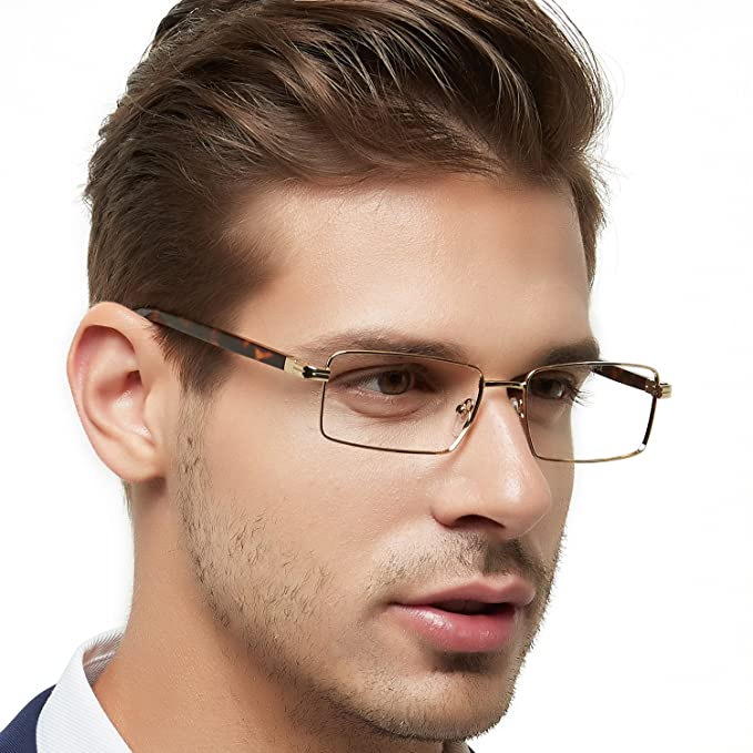 d8c8e9a4c8c OCCI CHIARI Rectangle Full-Rim Metal Optical Frame With Clear Lens For Men (Gold