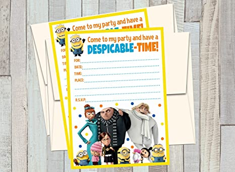 12 DESPICABLE ME 3 Birthday Invitations 5x7in Cards Matching White Envelopes