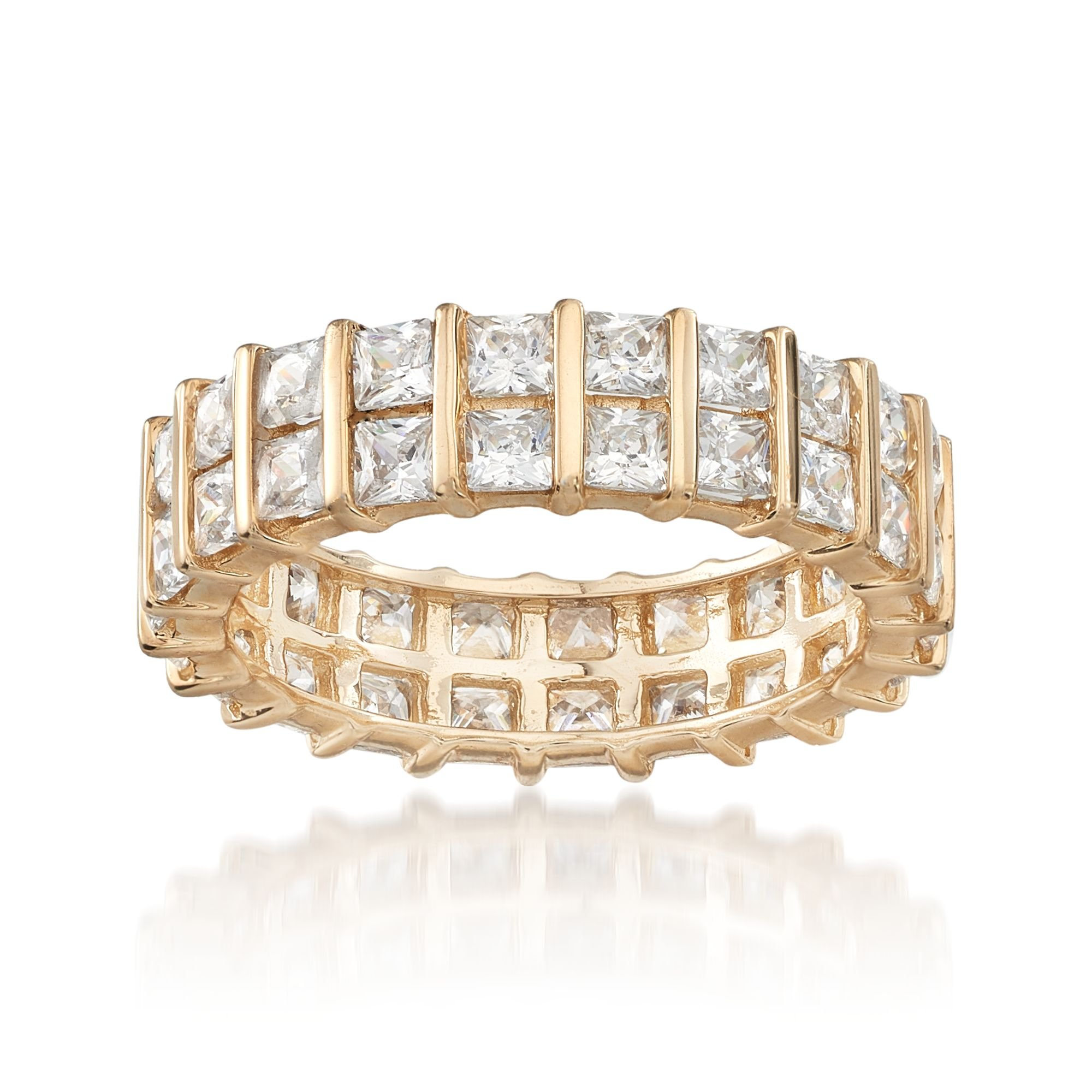 Ross-Simons 4.60 ct. t.w. Princess-Cut Eternity Band in 14kt Yellow Gold