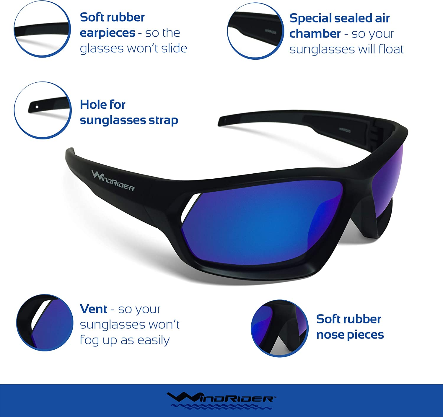 WindRider Polarized Floating Sunglasses for Men Designed for Fishing, Sailing, All Water Sports. Lightweight, Comfortable, 100% UV Protection