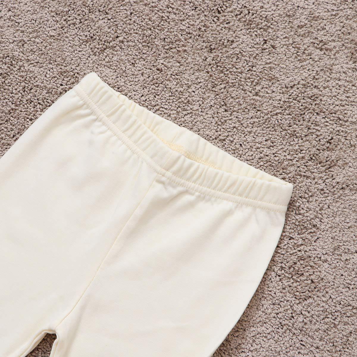 Girls Cotton Leggings Stretchy Soft Spring Fall Leggings Pants Size 120cm Beige
