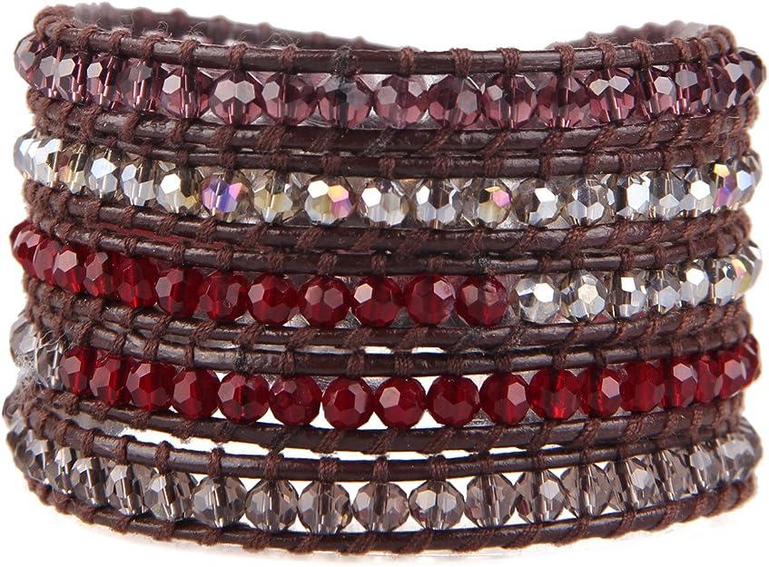 KELITCH Brown Leather Purple Seed Beaded Single Wrap Bracelet with Crystal Bead