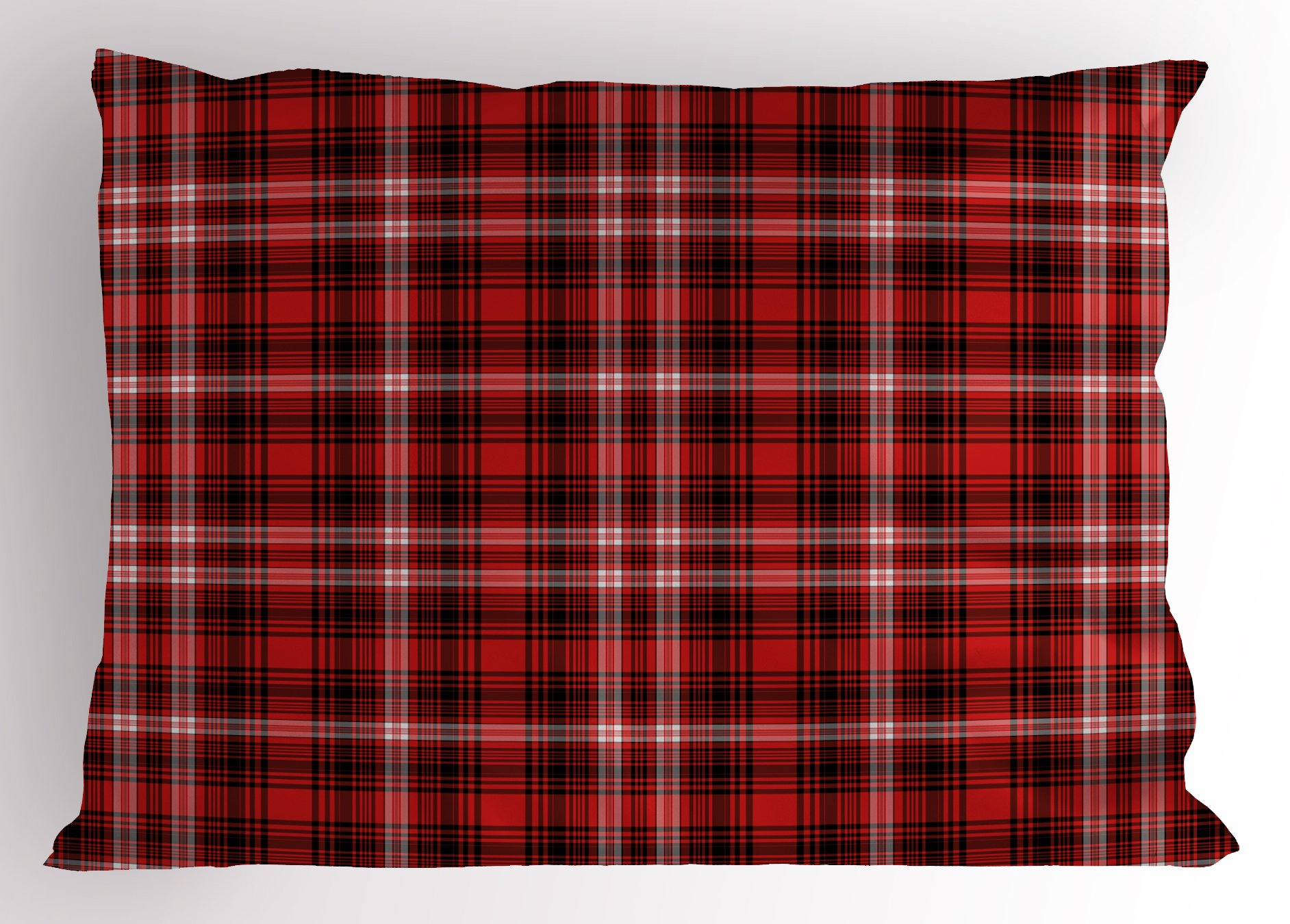Ambesonne Plaid Pillow Sham, Nostalgic Striped Pattern from British Country with Constrasting Colors, Decorative Standard Queen Size Printed Pillowcase, 30 X 20 inches, Scarlet Black White