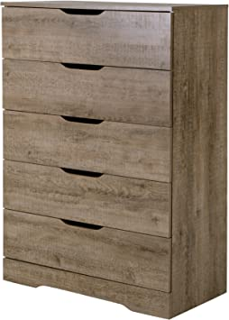 South Shore Holland 5 Drawer Chest in Weathered Oak