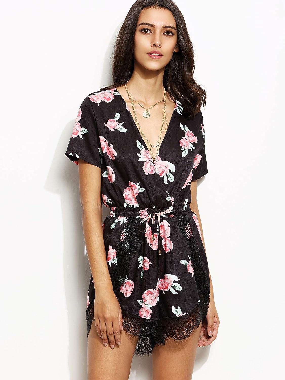 Floerns Womens Wrap Front Floral Print Romper Shorts Jumpsuit Playsuit