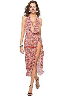 COCO clothing Kleider Damen Sommer Strandkleider Fashion lang kleider Sexy  Trägerkleid Schlitz bfb12b9d4c