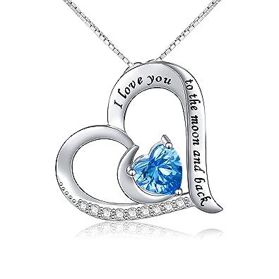 925 Sterling Silber Anhänger Schmuck Gravur I love you to the moon and back  Flyow Herz Halskette für Damen und Mädchen, mit 45,7 cm Box Kette   Amazon.de  ... 31dc08e68f