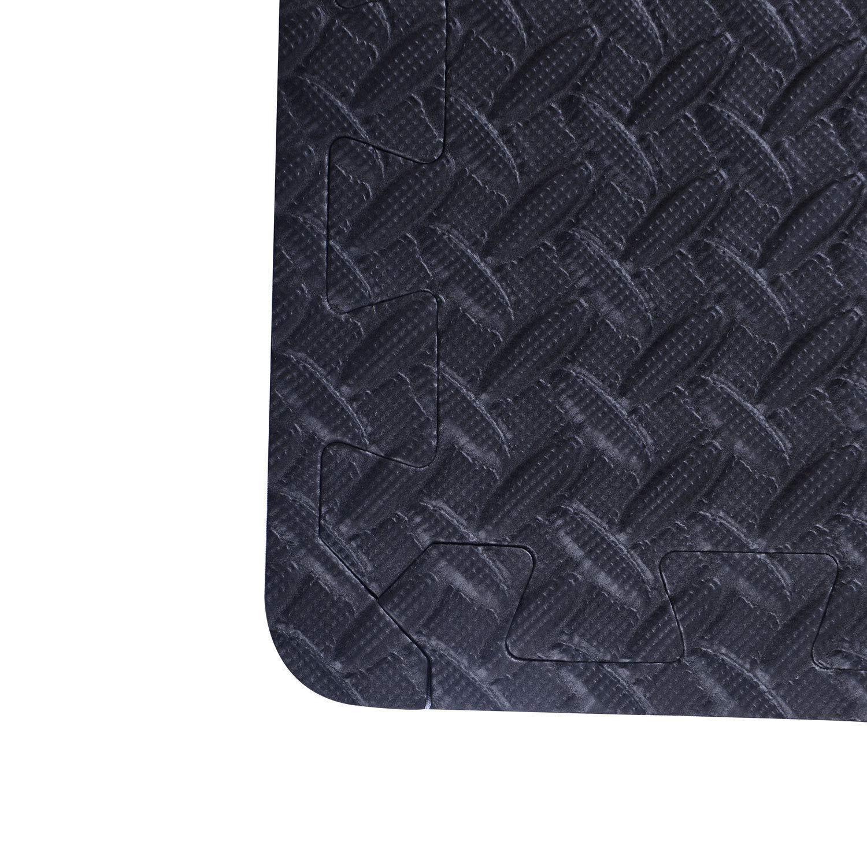 Soozier Exercise Interlocking Protective Flooring - 24'' x 24'' x 3/8'' Tiles - Black Diamond Plate