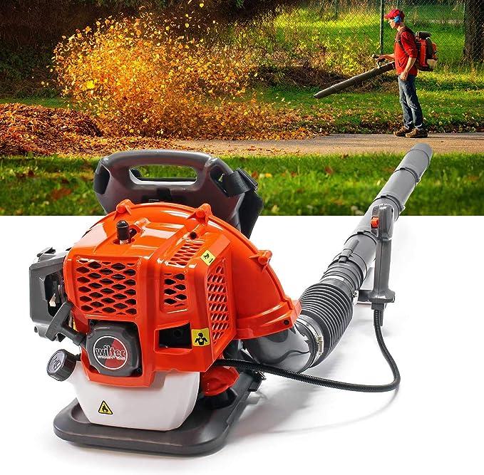 WilTec Soplador de Hojas con Mochila Motor Gasolina 1,7 CV 2 Tiempos Incluye Accesorios: Amazon.es: Jardín