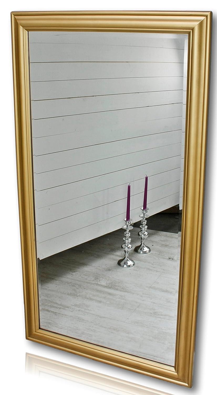 Elbmöbel 132 x 72cm Wandspiegel groß in Gold mit schlichtem Holz-Rahmen