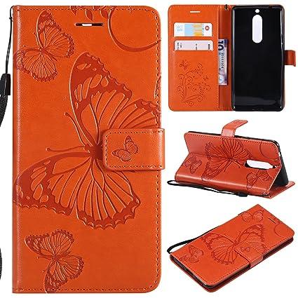 WindTeco Funda Nokia 5, Mariposa Patrón en Relieve Funda Shock-Absorción Bumper Carcasa Cartera Flip de Piel PU Libro Billetera con Función de Soporte ...