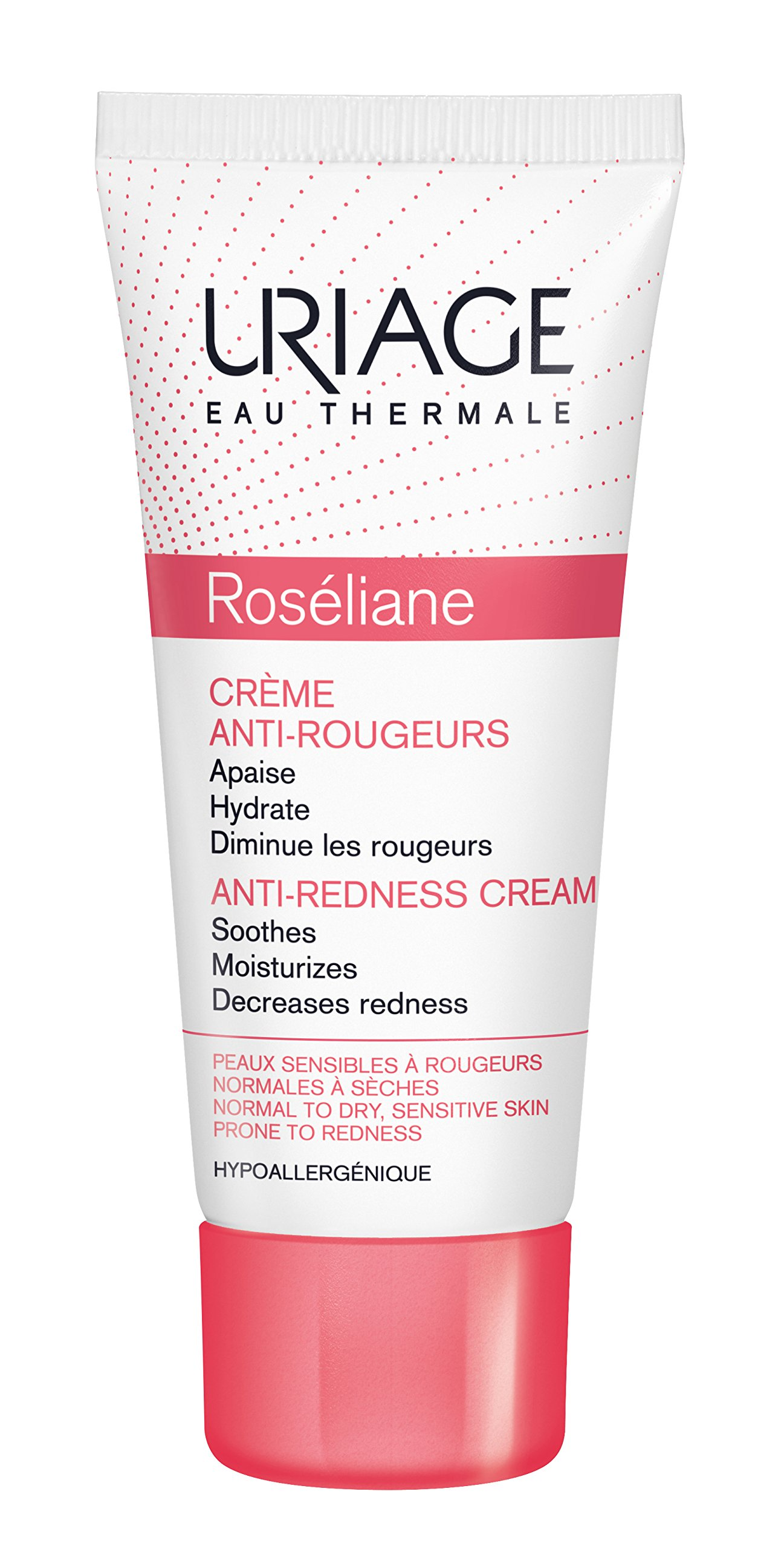 Uriage Roseliane Anti-Redness Face Cream 1.35 fl.oz. | Hydrating Moisturizer for Sensitive Skin Prone to Redness | Skincare Treatment that Inhibits the Key Factors that Cause Rosacea / Couperose
