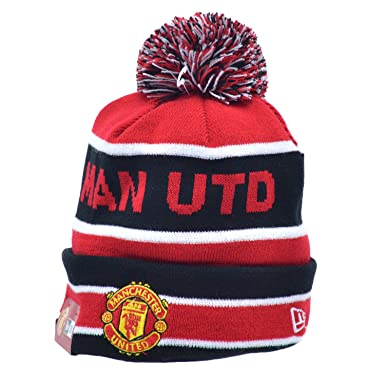 576e829ac26 New Era Manchester United Men s Cuff Bobble Beanie Winter Hats Red Black  ne-ts