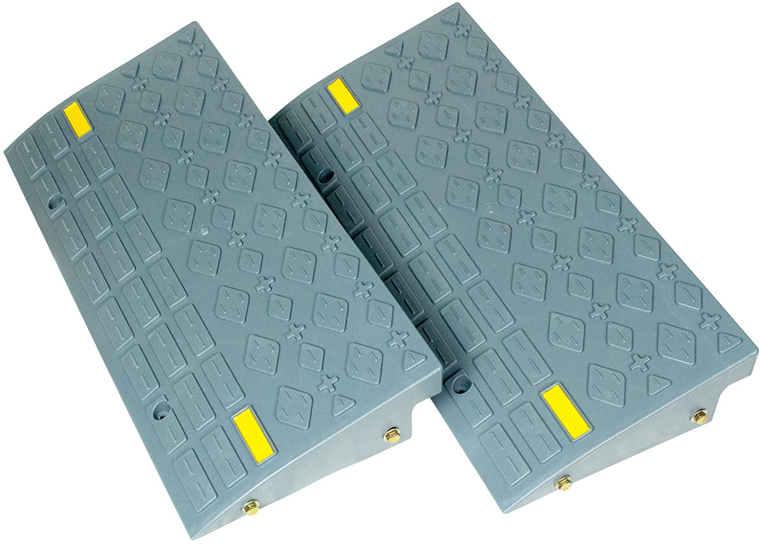 Set of Two Medium Size (4 inch Tall) Curb Ramps. Car, Truck, RV, Trailer, Cart or Handtruck. Can be Bolted Together or Used Separately. BUNKERWALL T&HI-B07D2DP87V