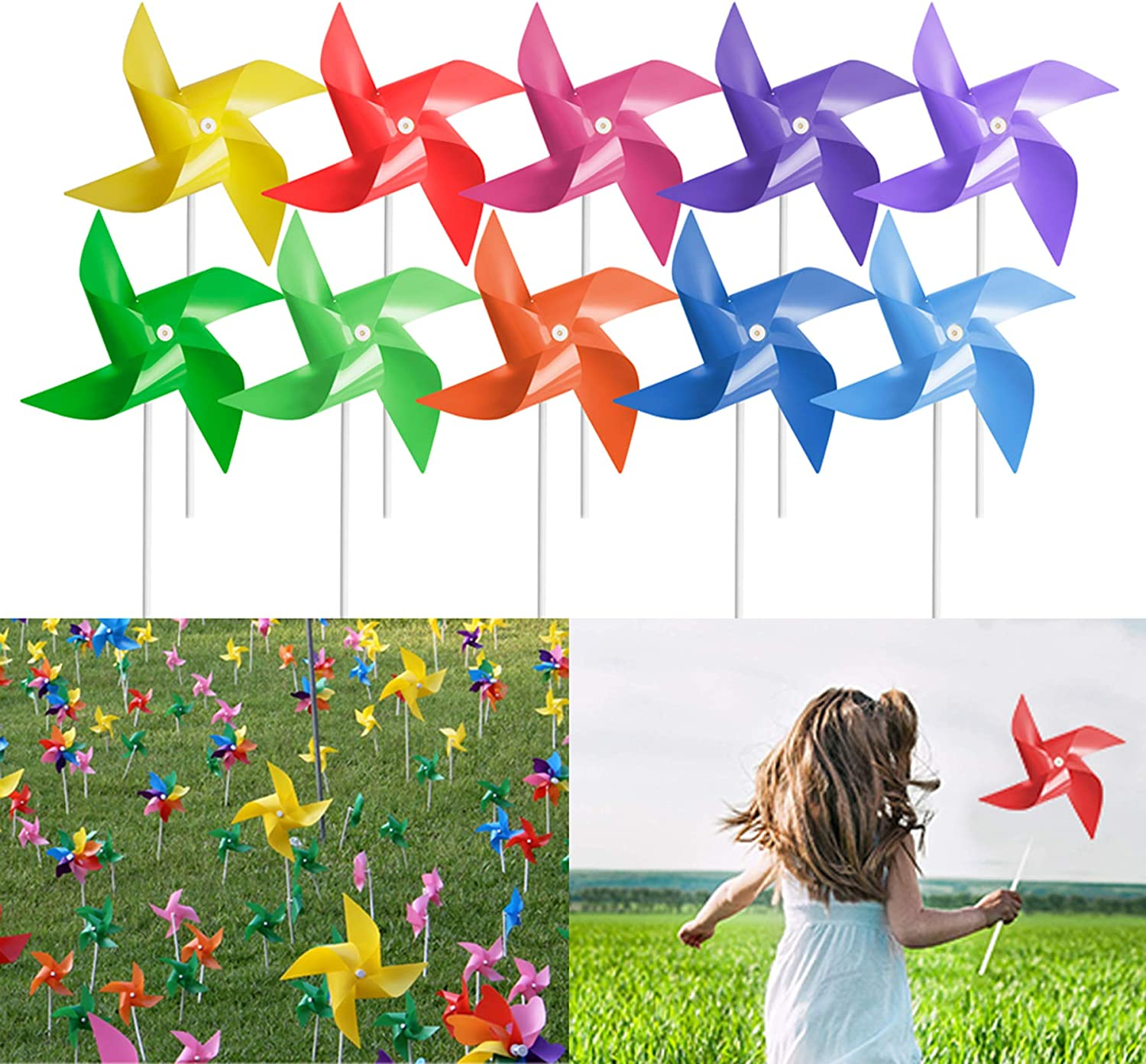 Tsocent 100 Pcs Pinwheels, 10 Mixed Colors Wind Spinners and Party Favors Gifts for Kids, Outdoor Decorational Pinwheels for Yard and Garden