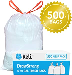 Reli. 6-10 Gallon Trash Bags Drawstring (500 Count Bulk) Small 8 Gallon Trash Bags Drawstring, Garbage Bags (6 Gallon - 7 Gal - 8 Gal - 10 Gallon Capacity) - White Drawstring Garbage Bags (6-10 Gal)
