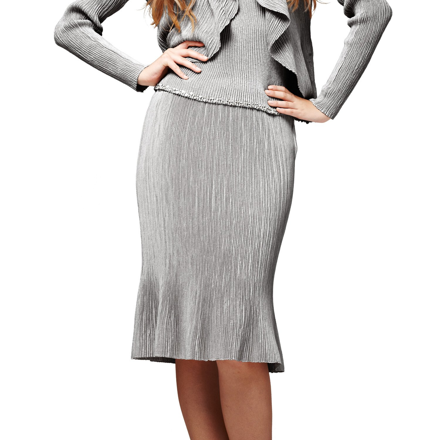 SPECCHIO PLEATS Women's Flared Pleated Skirt One size Grey by SPECCHIO PLEATS
