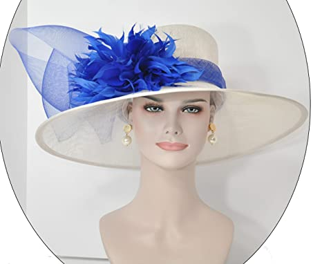 5b1f75501 ray&danile Wide Brim Sinamay hat with Feather Flowers,White with Royal Blue  201801