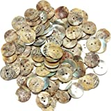 KingSo 100Pcs Sewing Neutrals Mother of Pearl Shell Buttons Dolls beads