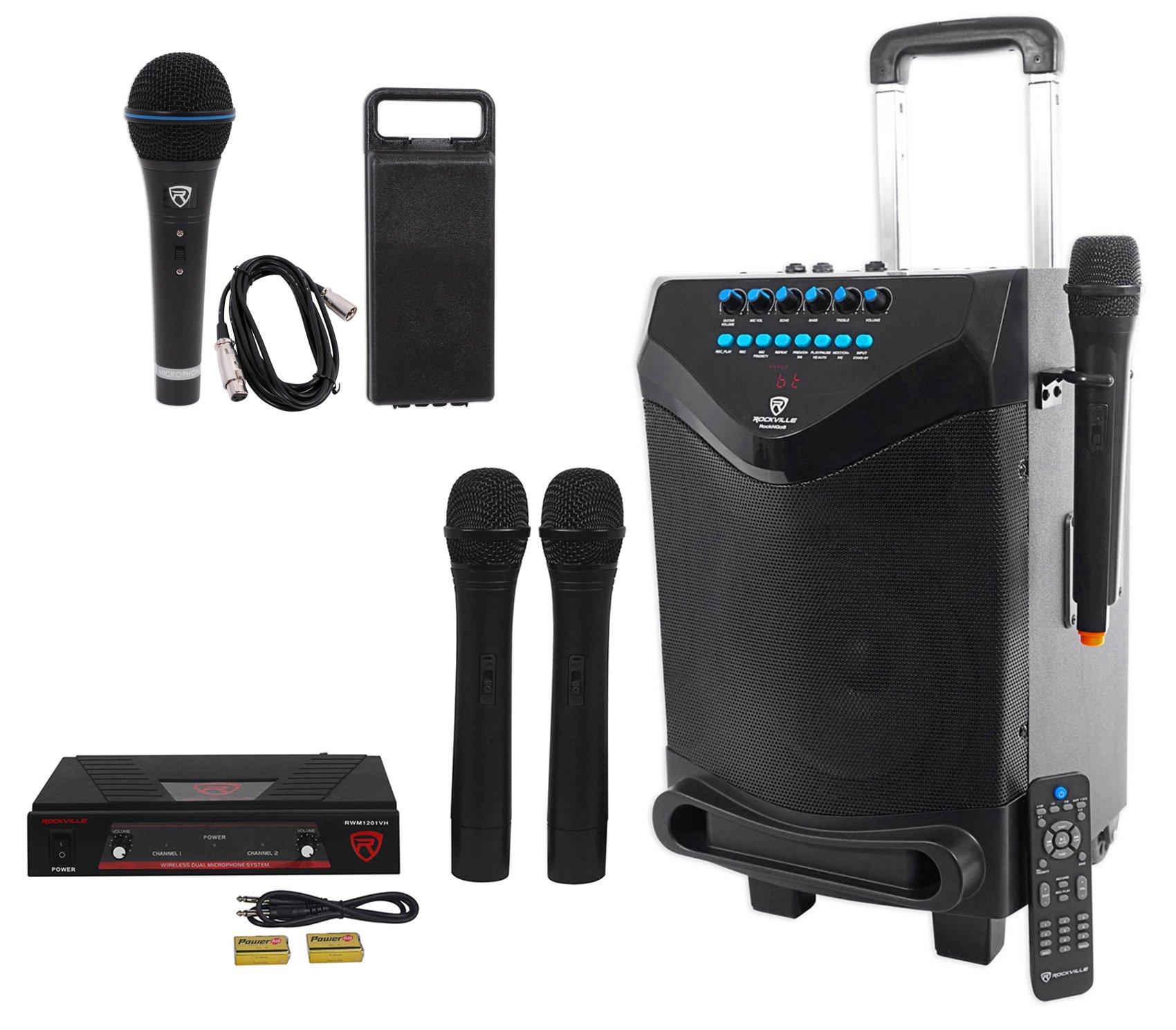 Rockville 8'' Portable YouTube Bluetooth Karaoke Machine/System+(4) Microphones