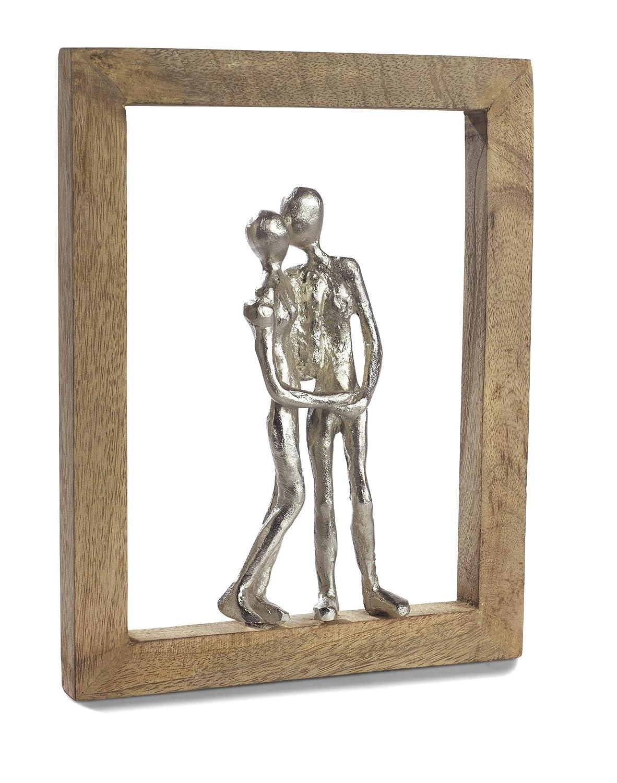 Moritz Skulptur Rahmen ich Liebe Dich Mangoholz Alu massiver Mangoholz - Rahmen Handarbeit 23,5 x 30,5 cm