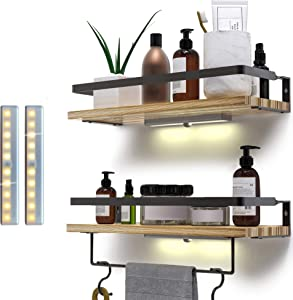 EAVA Rustic Floating Shelves Wall Mounted Set of 2 with Spotlight Motion Lighting-Solid Wood with Black Metal Frame and Removable Towel Holder- Decorative Storage for Bathroom , Kitchen and Bedroom
