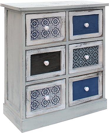 Rebecca Mobili Armoire Meuble de Rangement Blanc Gris Bleu Clair Bois 6  Tiroirs Shabby Cuisine Salon - 62 x 54 x 25 cm (H x L x P) - Art. RE6083