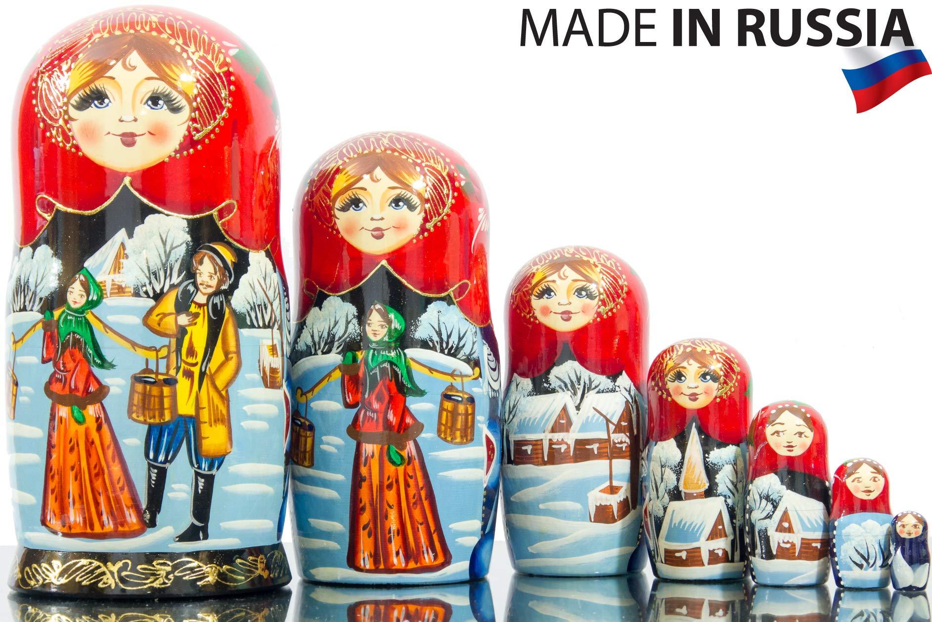 Russian Nesting Doll - Siberian Winter - Hand Painted in Russia -- Big Size - Traditional Matryoshka Babushka (8.25`` 7 Dolls in 1)