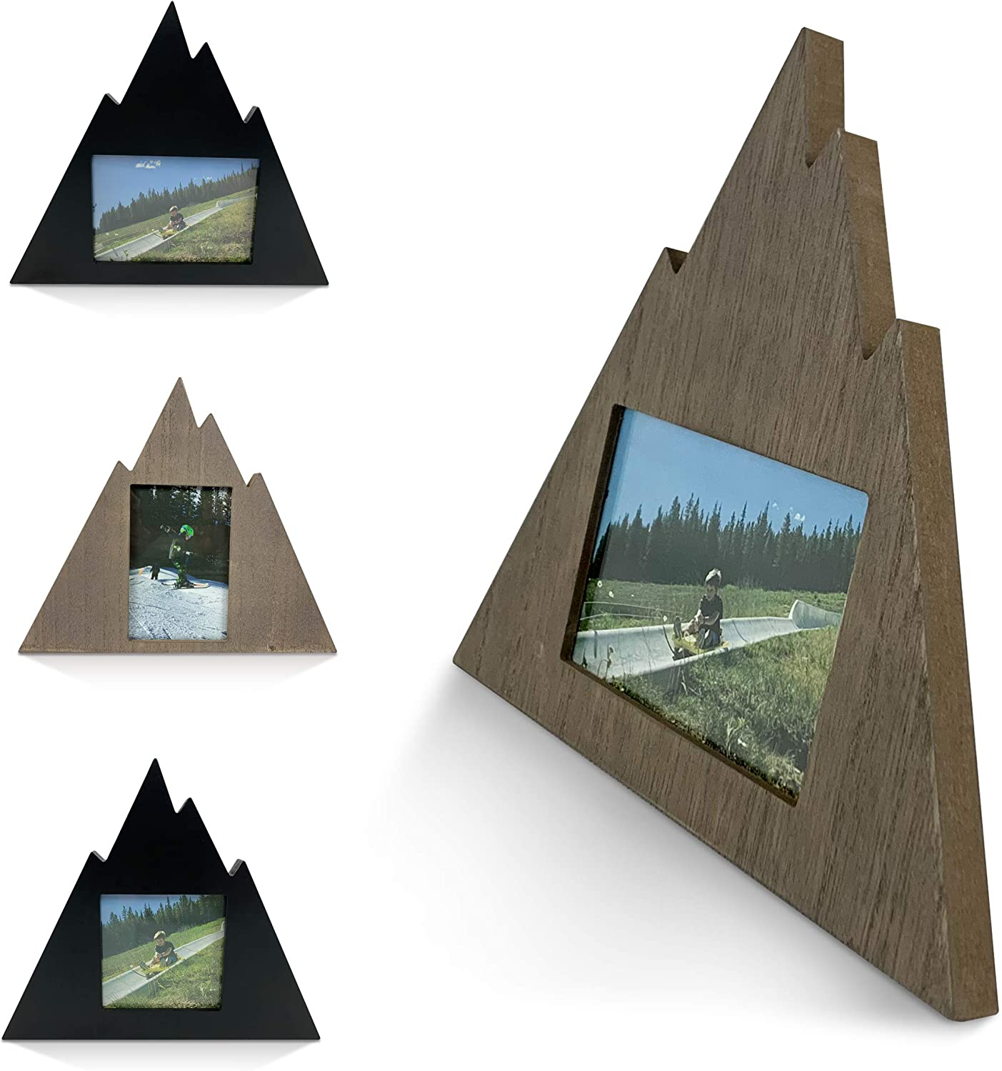 Majestic Mountain Picture Frame - Outdoor Gifts Photo Frame, Cabin Decor, Woodland Decor, Mountain Decor, Modern Rustic Decor Geometric Picture Frame/Mountain Frame (Rustic Gray - 4x6 - Horizontal)