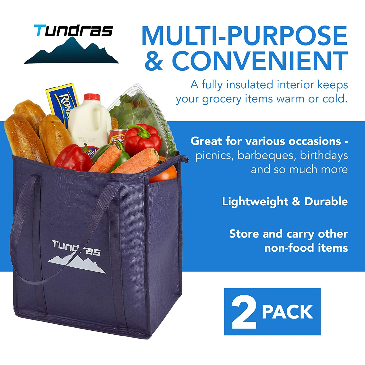 3a3eb6442 ... Insulated Grocery Bags - 2 Pack, Navy - 7.5 Gallon Thermal Cooler Tote  - Reinforced Handles, Zipper Closure, Folds Flat - For Shopping, Hot and  Cold ...