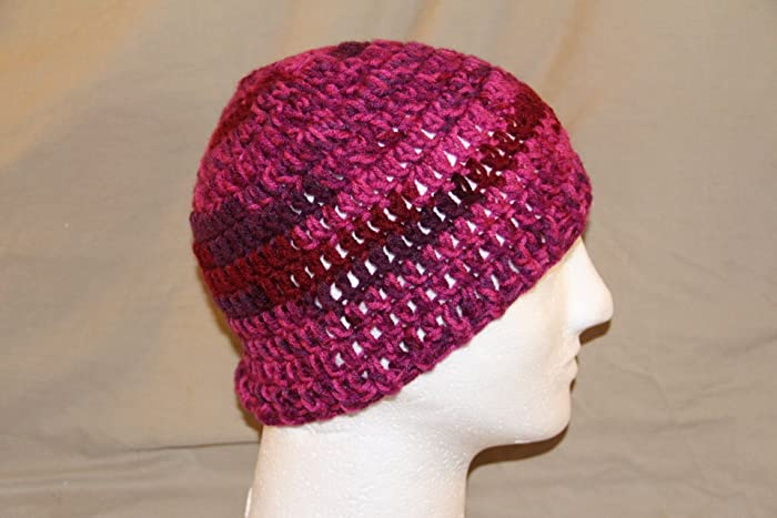 Hand Crochet head hugger cap skull cap chemo cap bad hair day cap - fits  most teens   adults - Variegated mauve burgundy (almost purple) - 100%  acrylic yarn ... 9949f2614dc