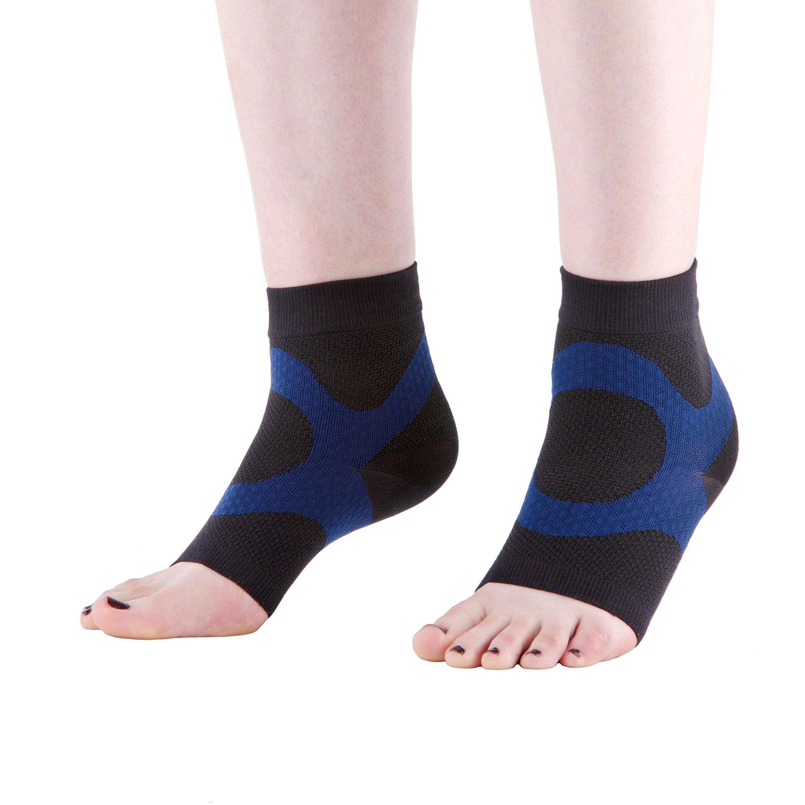 Wanderlust Plantar Fasciitis Sleeves - Open Toe Compression Socks With KT Tape (LARGE)