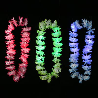 Fun Central 12 Pieces - LED Light Up Silk Flower Leis Necklace in Bulk for Luau Party Supplies and Beach Party Decorations - Assorted Colors: Toys & Games