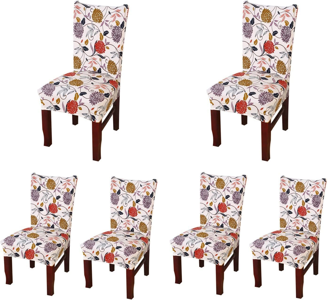 SoulFeel Set of 6 x Stretchable Dining Chair Covers, Spandex Chair Seat Protector Slipcovers for Holiday Banquet, Home Party, Hotel, Wedding Ceremony (Style 35, Floral)