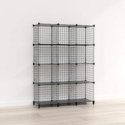 SIMPDIY estanteria Modular Malla Almacenamiento, librería Armario 12 Cubos, estanterias metalicas almacenaje Alta Capacidad, Vitrina Almacenamiento ...